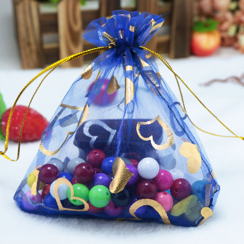 Whole 100pcs Royal Blue Organza Bags 17x23cm Hearts Design Wedding Favor Candy Boutique Packaging Drawstring Gift Bag In Wring
