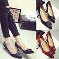 Clásico hebilla lateral mujer zapatos de tacón alto de la boca baja del dedo del pie puntiagudo tacones finos zapatos de las mujeres zapatos rojos zapatos de boda rhinestone