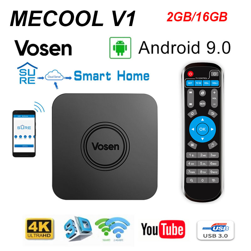 Android 9.0 Smart TV box MECOOL Vosen V1 google TV 2G 16G Quad Core 4 k HD 2.4G/5G WIFI LPDDR4 IR contrôle de téléphone décodeur intelligent