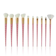 10pcs Spiral Makeup Brush Set Foundation Blending Powder Eye shadow Make Up Brushes Pink Cosmetic Beauty Make Up Tools handmade makeup brushes set 6pcs soft goat hair make up face powder blush eye shadow brush pink handle cosmetic tools