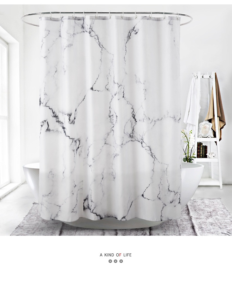 marble printed 3d shower curtain waterproof polyester bath screens curtains grey and white