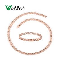Wollet Jewelry Set 99.999% Germanium Heart Design Stainless Steel Magnetic Necklace Bracelet for Women Rose Gold Silver Color недорого