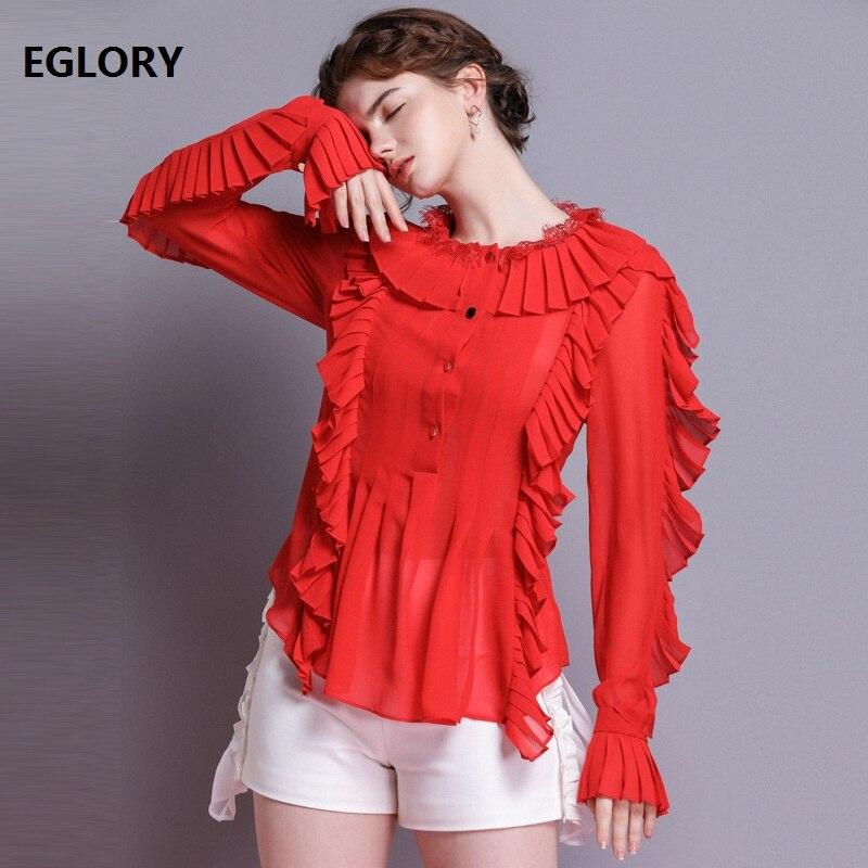 Top qualité marque Blouse chemise 2019 printemps été chemise à volants femmes col claudine manches longues blanc rouge noir chemise Sexy