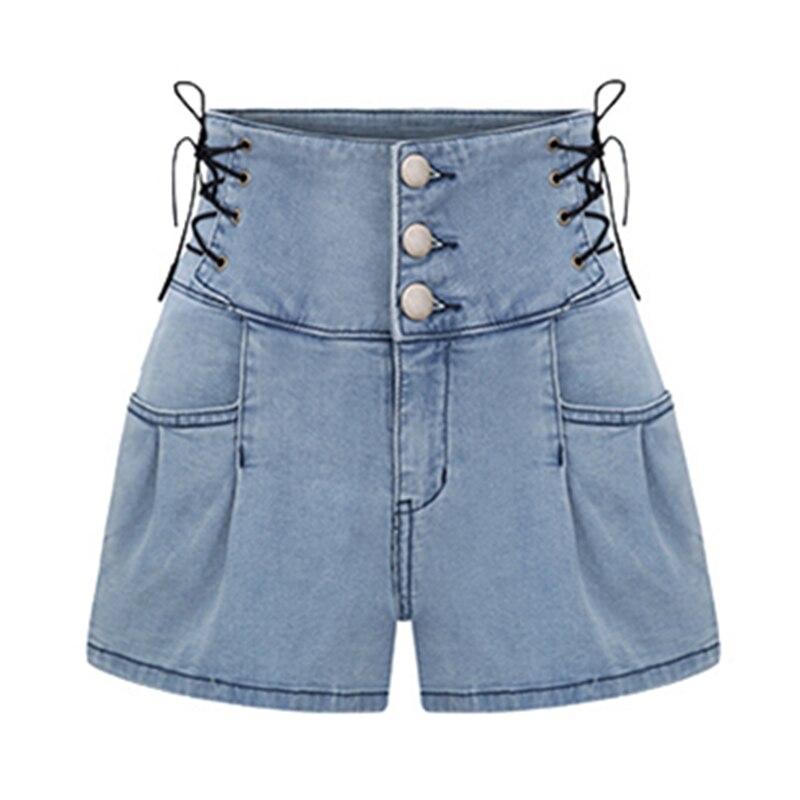 Nowy Lato Dorywczo Mody Denim Skorts Wysokiej Zwężone Dżinsowe Szorty Dla Kobiet Szczupła Niebieski Krótkie Jeans Rocznika Panie Krótki Skort