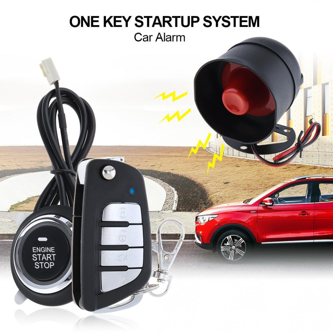 Universal Voitures Système D'alarme À Distance Start Stop Moteur Système avec Auto Verrouillage Central et Sans Clé D'entrée 5A avec Clé