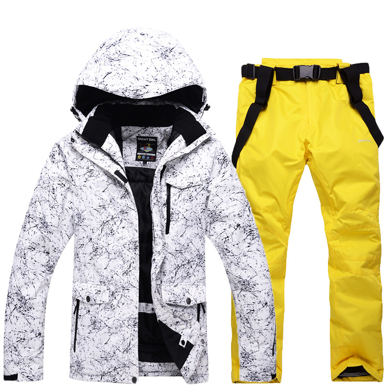 GSOU SNOW Men Ski Suit Winter Warm Strap Leather Trousers + Ski Jacket Windproof Mountaineering Sports Jacket Size S-XXL