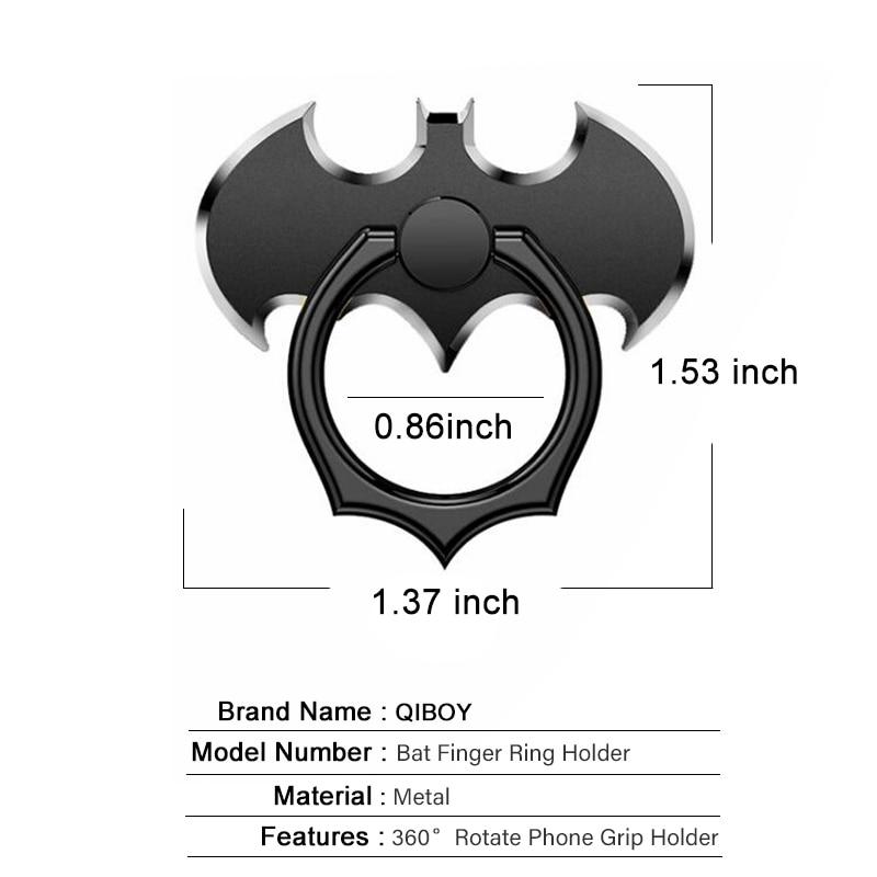 Batman Aluminum Metal Finger Ring Holder 360 Degree Cell Mobile Phone Desktop Stand For iPhone Xiaomi Smartphone Bat Desk Holder in Phone Holders Stands from Cellphones Telecommunications