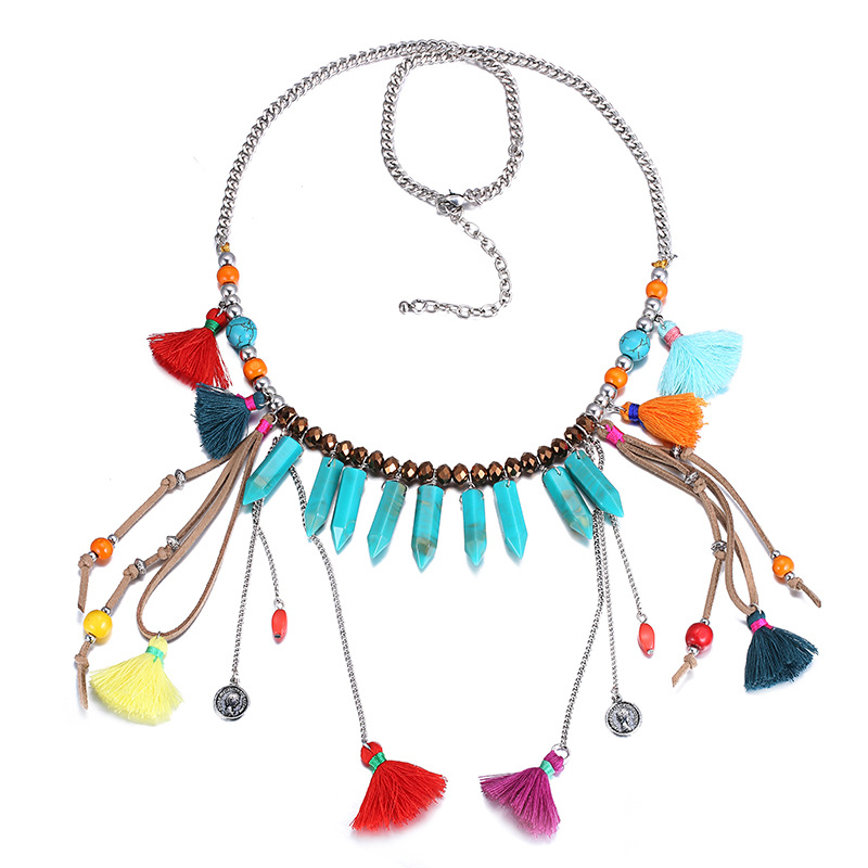 ModaOne Jewellery Store New Acrylic Wooden Beads Long Necklaces Bohemian Ethnic Necklace Tassel Bijoux Colier Femmecollares Etnicos Jewelry