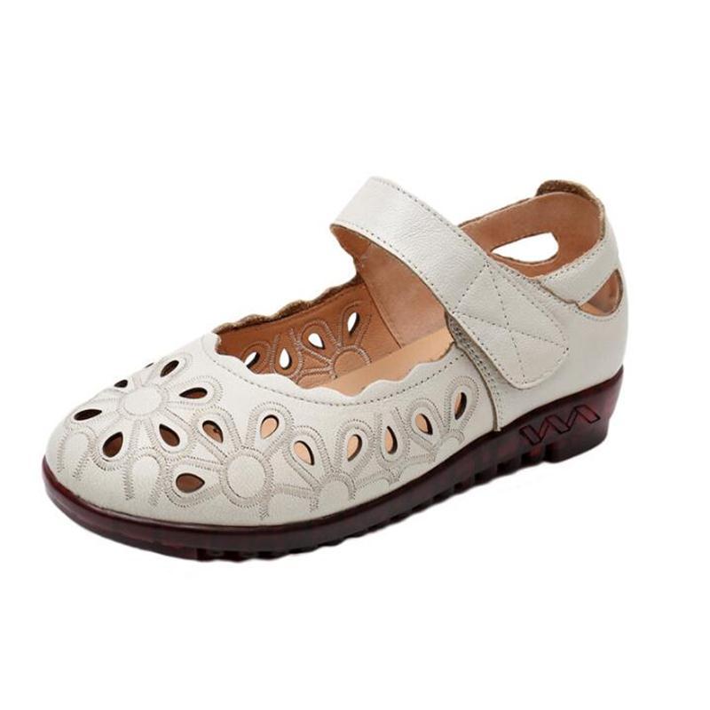 púrpura negro White Bordado 2019 Pisos Mujer Cuero De Hechas Rice Comodidad A Zapatos Vintage Transpirables Sandalias Genuino amarillo Nuevo Mano TqFqwRnU