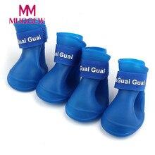 Обувь для домашних собак силиконовые водонепроницаемые резиновые сапоги большой маленький щенок, домашнее животное, кот обувь для Дождя Черная противоскользящая гибкая подошва обувь для дождя
