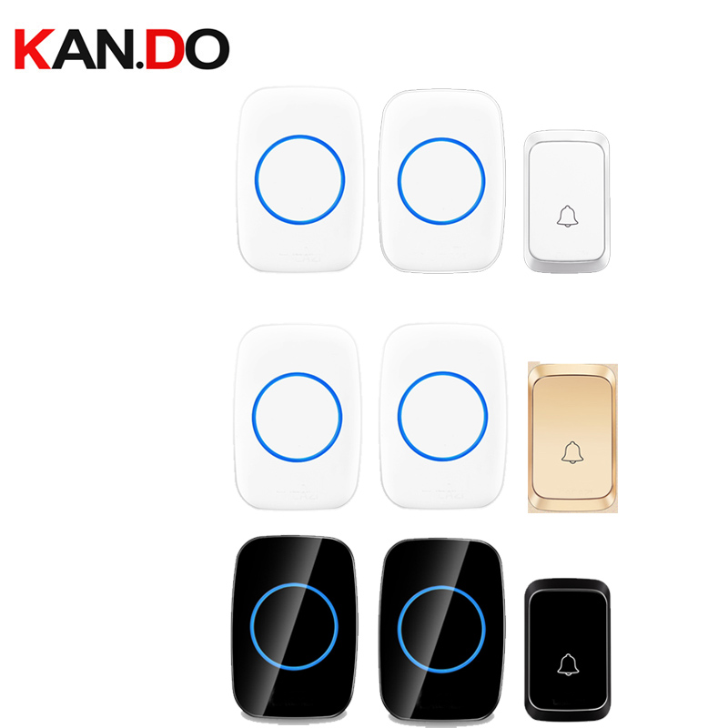 Bell Sets 2 Receivers Different Colors Wireless Door Bell Set By 110-220V Wireless Doorbell Ip44  300M Door Chime Door Ring
