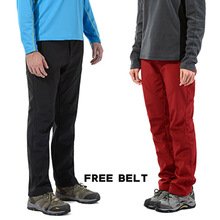 Soft shell outdoor full length charge trousers Elasticity men women belt pants thickening windproof fleece warm Breathable black