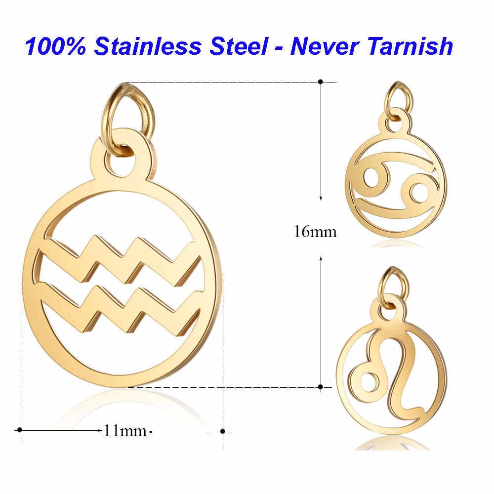 5pcs/lot 100% Stainless Steel Zodiac Symbol Charms VNISTAR High Polished Horoscope Pendant DIY Jewelry Findings Supplies