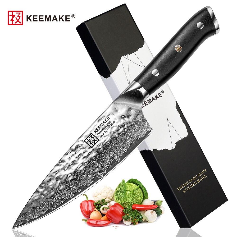 """Sunnecko 6.5 """"다마스커스 요리사 칼 일본 AUS 10 코어 스틸 해머 블레이드 면도기 샤프 주방 나이프 고기 야채 슬라이스 컷-에서주방 칼부터 홈 & 가든 의  그룹 1"""