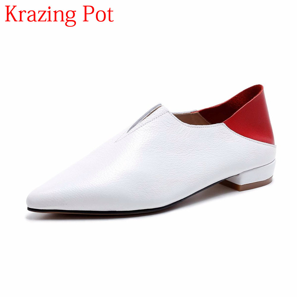 2018 Brand Spring Shoes Mixed Colors Low Heels Slip on Pointed Toe Women Pumps Elegant Runway Big Size Runway Causal Shoes L28 women shoes pumps spring 2017 thick low heels autumn elegant slip on pointed toe casual shoes ladies office wear big size 41 42