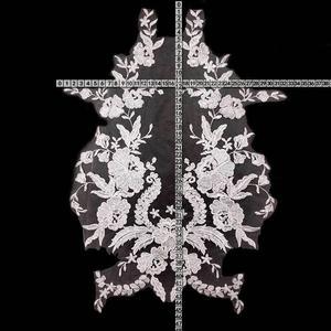 Image 5 - Misaya 1 מחשב תחרה בד שחור Lvory לבן כותנה רקום Applique DIY חתונה high end שמלה אביזרים בעבודת יד