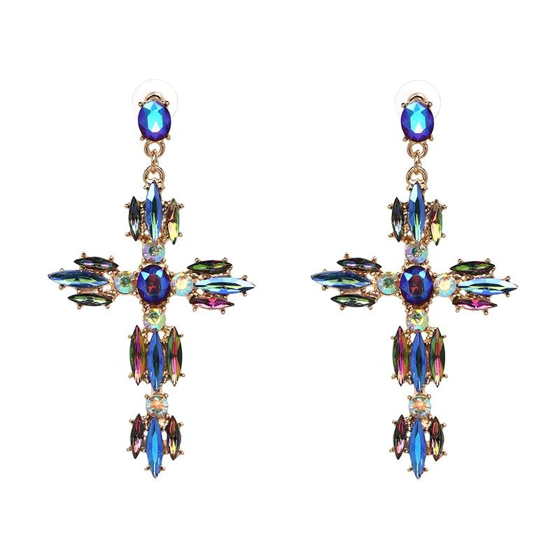 JURAN Qadın Moda Vintage Kristal Qızıl Xaç Sırğalı Şirin - Moda zərgərlik - Fotoqrafiya 3