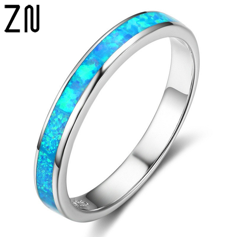 ZN 2018 Blue Fire Opal Rings For Women Men Fashion Jewelry