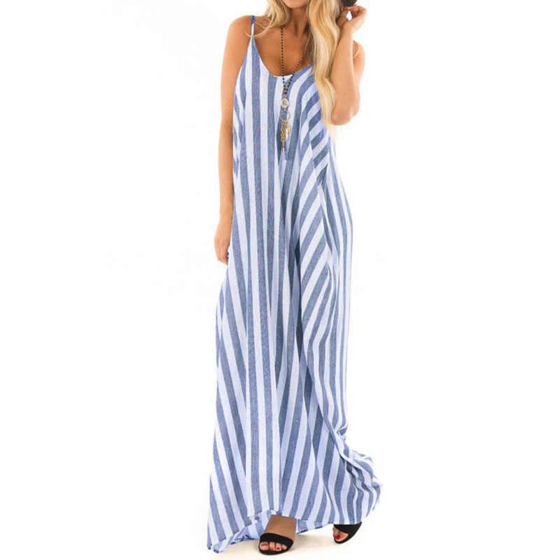 c9e8b9930a80303 Boho полосатый длинное платье Лето 2019 для женщин Sexy V средства ухода за  кожей Шеи Strappy