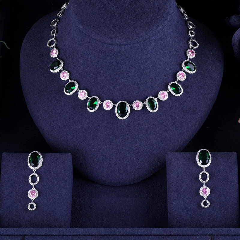 Earrings Wedding-Necklace Janeklly Bridal-Jewelry-Sets Pendientes Multi-Stone Women Accessories