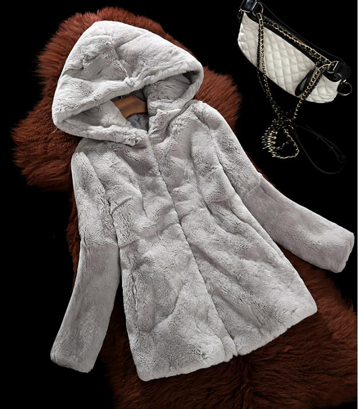 Hooded Women Jacket Real Fur Coat New Brand Luxury Natural Rabbit Fur For Female Factory Plus Size Ksr617