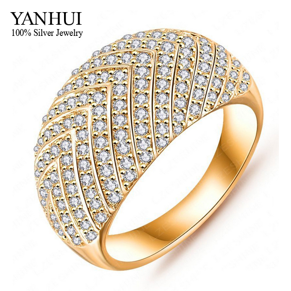 YANHUI Luxury Fashion Gold Filled Wedding Rings For Women Full CZ Diamond Engagement Ring Women Fine Jewelry YR356