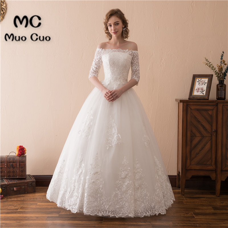 2018 Off Shoulder Wedding Dresses With Half Sleeves Robe De Mariage A-Line Gown Tulle Lace Bridal Gown Wedding Dress Custom Size