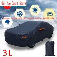 Volle Auto Abdeckung Dark Blue Wasserdicht Regen Schnee Wärme Staub Beständig Schutz Limousine: 470*180*150 cm185.04 * 70 86 * 59.056in