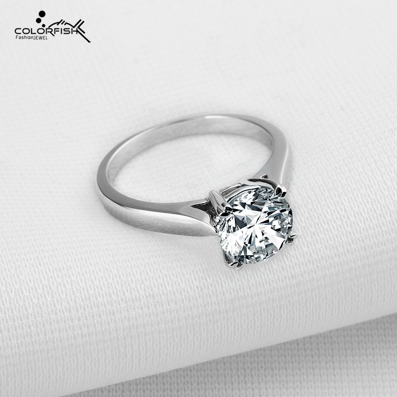 COLORFISH Round Cut 1.9 ct Solid 925 Sterling Silver Solitaire Engagement Ring Luxury Sona Jewelry For Women Promise Finger Ring luxury jewelry round cut sona diamond engagement ring in sterling silver