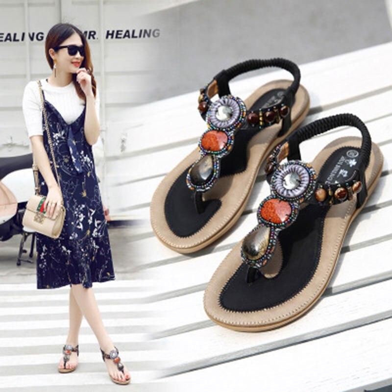 Women shoes breathable women sandals 2017 fashion women summer shoes string bead Bohemia beach sandals