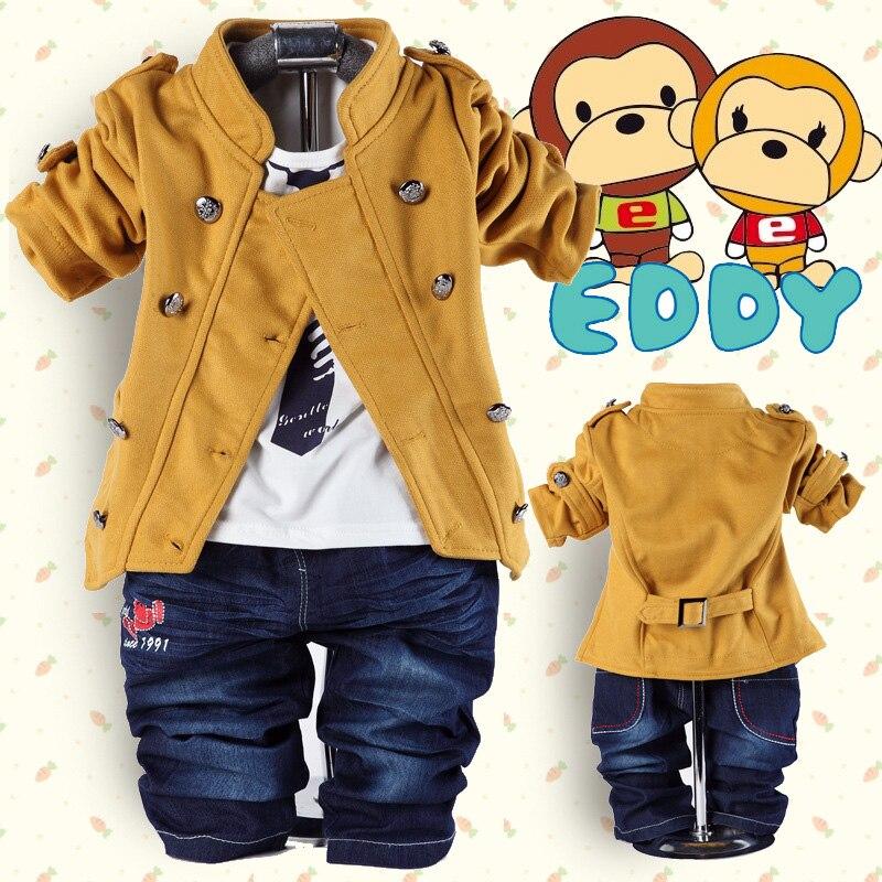 Novelty Baby Boy Cotton 3 Pieces Suit Set Long-Sleeved Clothing Shirt + Jacket Pants Bodysuits Costume - Western fashion Co.,Ltd. store