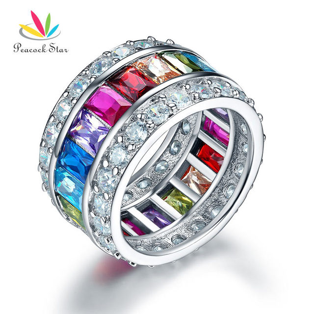 Peacock Star Multi-Color Stone Band Wedding Anniversary Solid 925 Sterling Silve