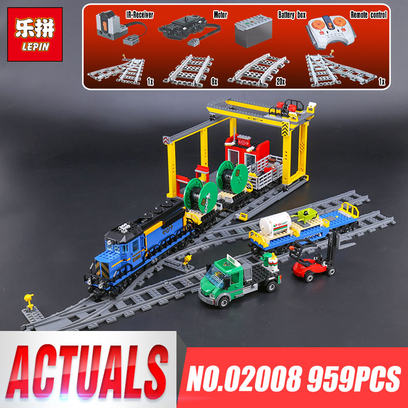 Lepin 02008 Genuine 959Pcs City Series The Cargo Train Set Building Blocks Bricks Educational Children Toys Christmas Gift 60052 lepin 02008 the cargo train 959pcs city series legoingly 60052 plate sets building nano blocks bricks toys for boy gift