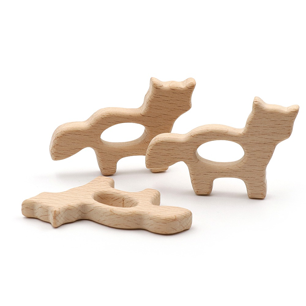 JOJOCHEW 2pcs Beech Wood Teether Cat Food Grade Wooden Teether Charms For Teething Necklace Natural Wood Made Baby Gift