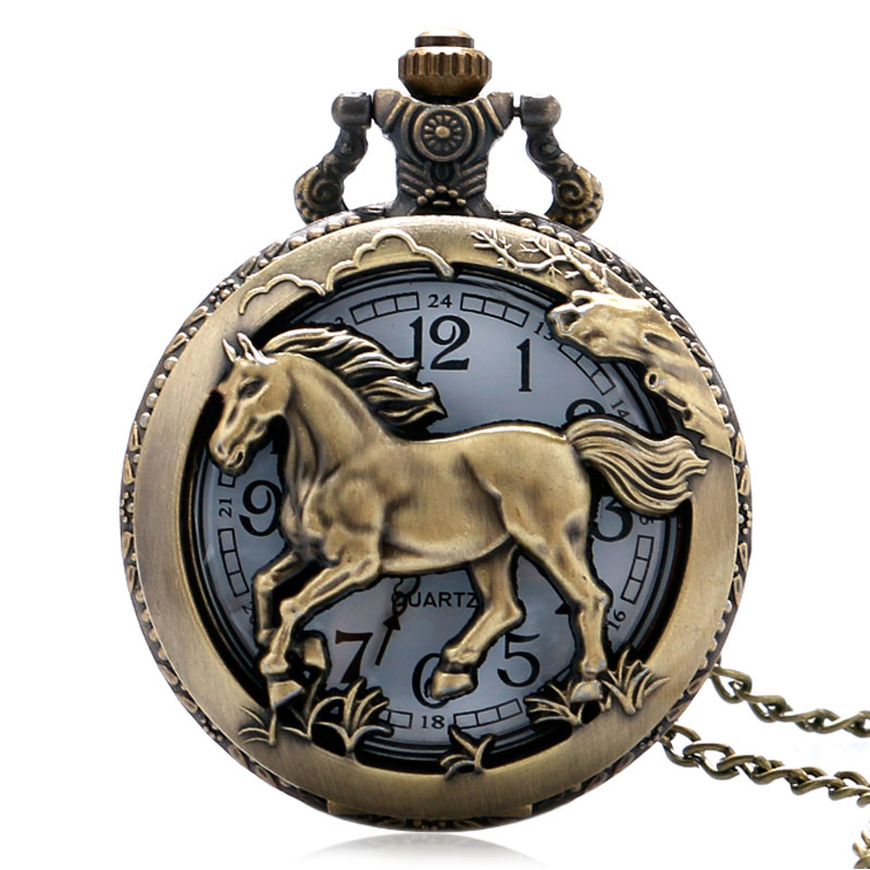 Pocket Watch Free Shipping Bronze Copper Horse Hollow Quartz Watch Clock Hour Fob With Chain Pendant Womens Men Xmas Gift
