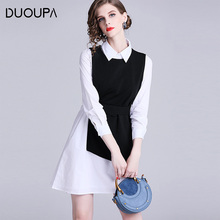 Duoupa 2019 spring new womens fashion irregular shirt + long vest dress two-piece