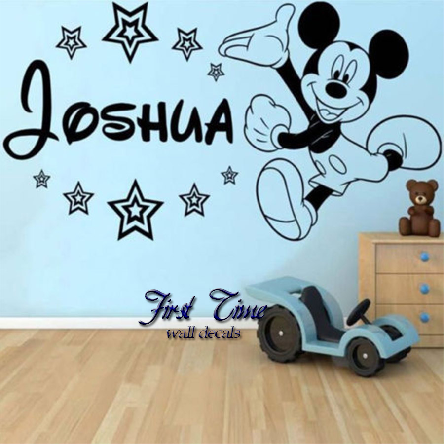 Personalised Name Mickey Mouse Wall Sticker Cartoon Baby Wall Decal Decor  Vinyl Wall Stickers For Kids. Popular Mickey Mouse Wall Stickers Buy Cheap Mickey Mouse Wall
