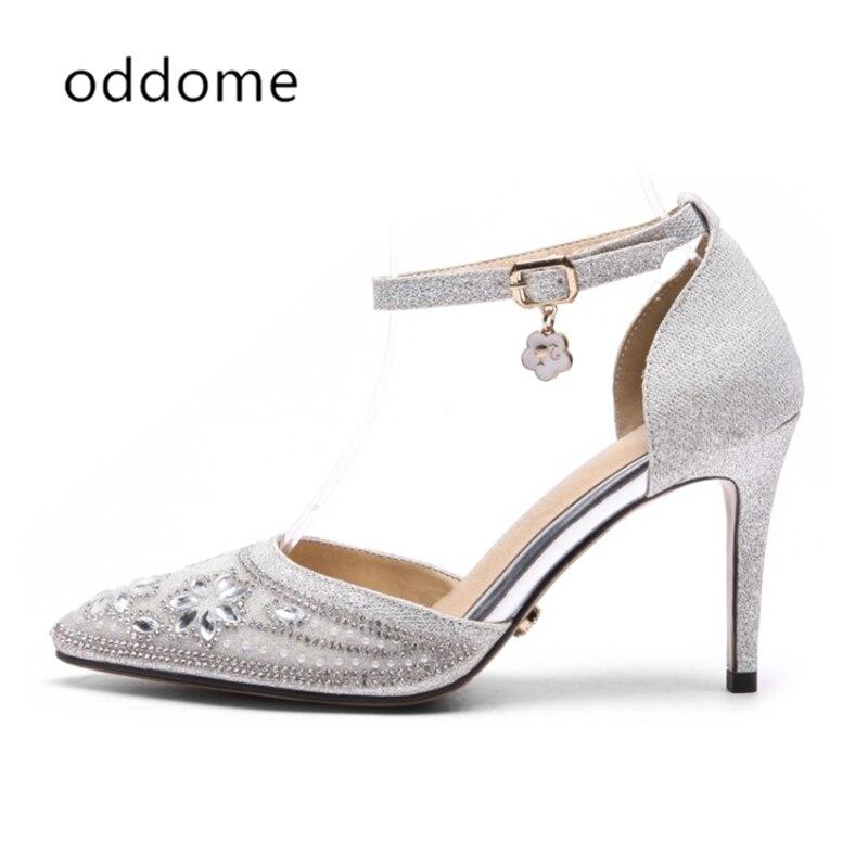 neue Sommer Schuhe Silber weibliche Sandalen Pailletten Tuch Strass - Damenschuhe - Foto 3
