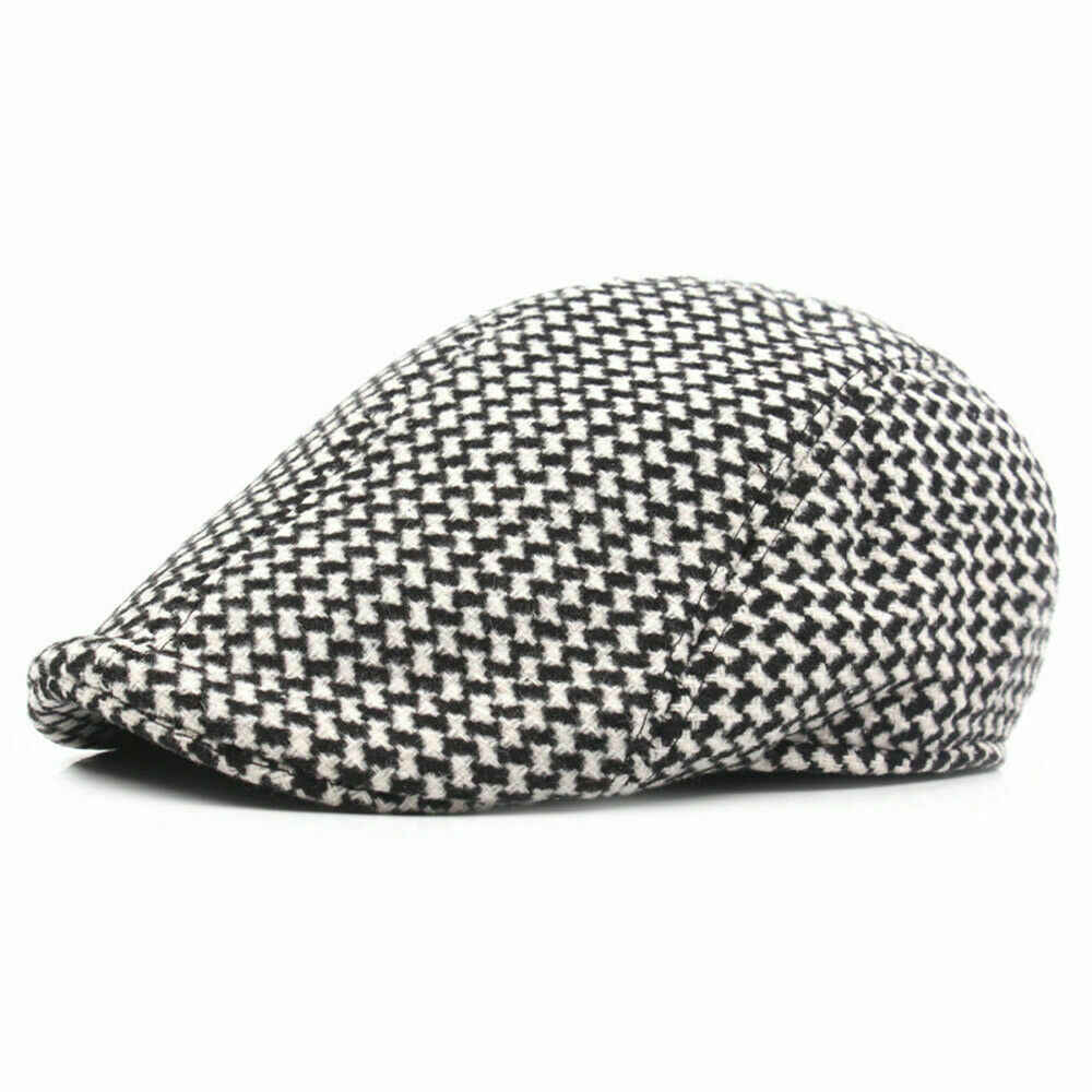 Women's Men's Plaid Newsboy Tweed Golf Driving Hat Houndsmooth Beret Cap Peaked Hat Khaki Gray Coffee