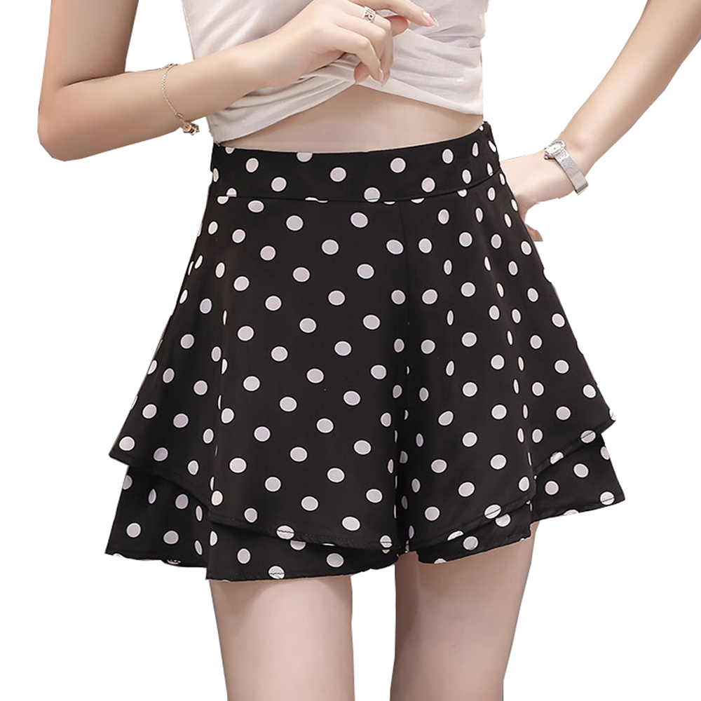 Women Shorts Skirts 2019 Fashion High Waist Casual Young Lady Short Pants Female S-XXL White Red Black Dot Printed Summer Wear