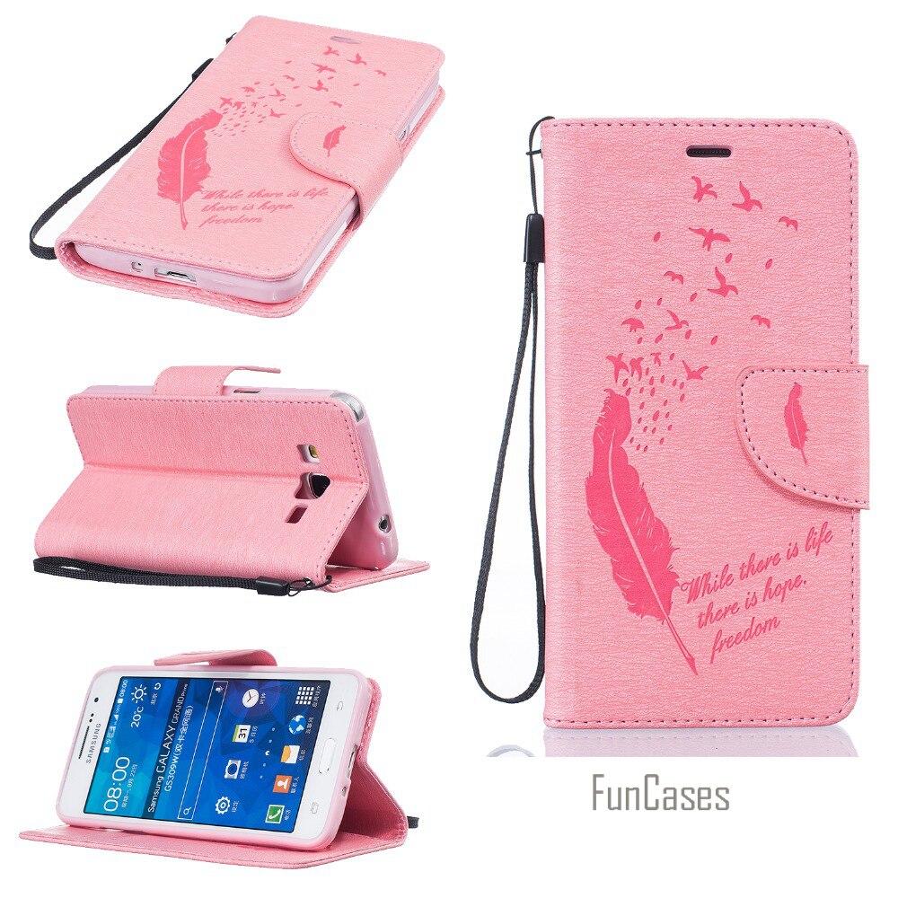 En relief Flip Cas pour fundas Samsung Grand Le Premier Couverture de Cas pour coque Samsung Galaxy Grand-Premier Cas G530 G531H + Titulaire de la Carte
