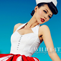Wild cat Vintage Retro white with fishbone low-cut blouse