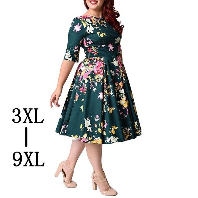 Ретро Большой Размеры 6XL 7XL 8XL женское платье Винтаж молния туника, цветочный принт платье с широкой юбкой Плюс Размеры платья для Для женщин 4XL 5XL