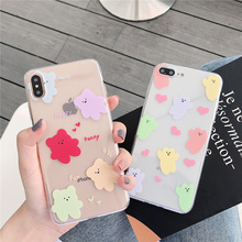 Case bear soft case for iphone 6 6s Plus cute transparent korean clear candy color iPhon 7 8 x xsmax xr 10 cover