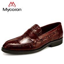 b24197d1f MYCORON мужские официальные кожаные ботинки без шнуровки Мужские модельные  туфли Роскошные Дизайнерские Элегантные туфли из крокодиловой