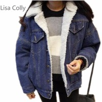 Lisa Colly Autumn Winter Fur Denim Jacket Women Bomber Jacket Blue Jeans Jacket Coat with Pockets