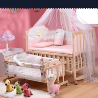 Baby bed thickened bumpers bed multifunctional game with roller shaker pine wooden baby cot with nets free shipping
