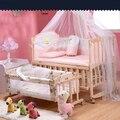 Jogo cama de bebê cama berço cama de multi-funcional com um rolo shaker cama de criança berço de madeira de pinho com mo squito redes de entrega gratuita