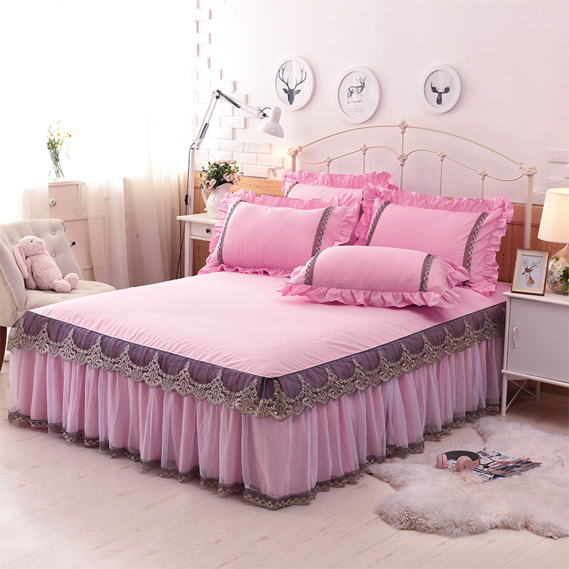 1 3pcs 100 cotton lace king queen full size bed skirt luxury pink blue princess bedspread. Black Bedroom Furniture Sets. Home Design Ideas