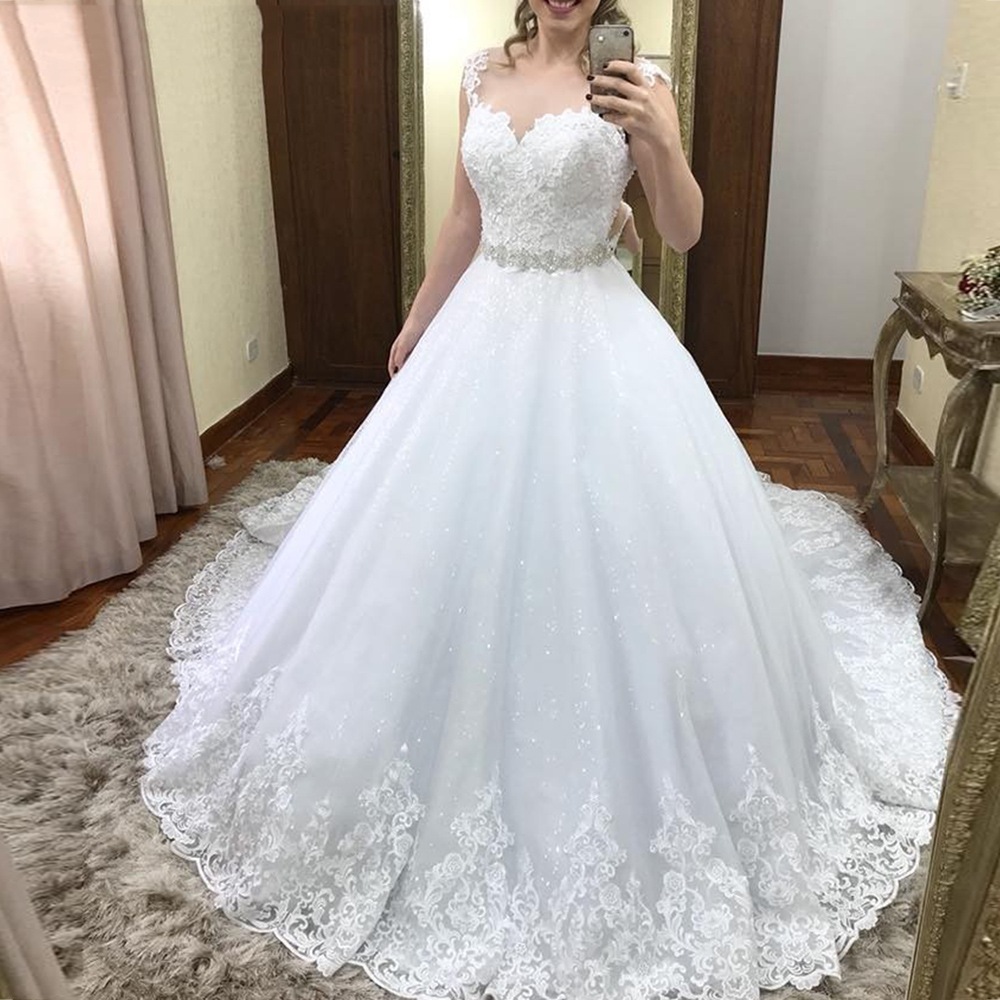 Vinca Sunny Lace Tulle Wedding Dresses Sleeveless With Crystal Belt Wedding Gowns 2019 Vestido De Casamento Hochzeitskleid